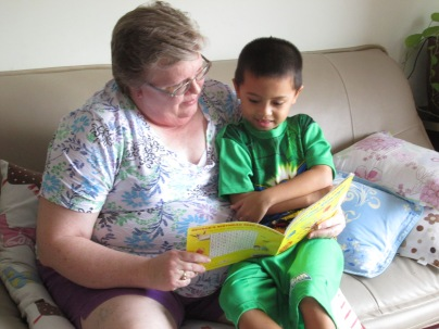 Jacob loves being read to.