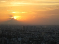 Cloud and sunset over Vietnam. Taken from the 50th floor of the tallest building in Saigon.