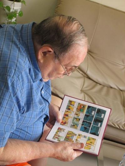 Leon reading Tin Tin - which he enjoyed.