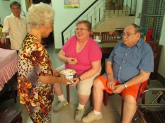 Lam's Grandmother passing around some butter cookies. People love those everywhere!