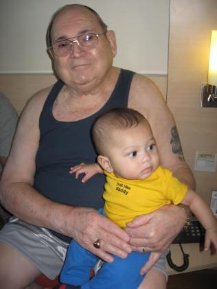 Leon and James together in Aunt Karen's hotel room