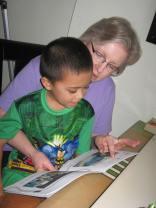 Auntie and Jacob reading