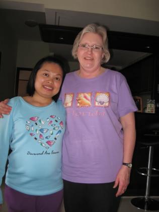 Aunt Karen and Lam - in pastels.