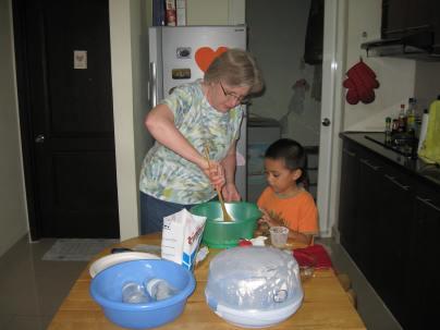 Making sugar cookies on Valentine's Day.