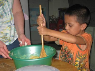Jacob stirring the pot (he's good at that!).