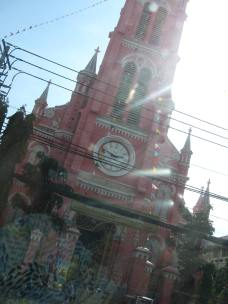Thanh Dinh cathedral - it's bright pink!