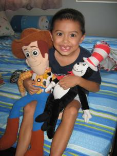 Jacob and his beloved Woody and his new Cat in The Hat.