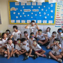 Jacob (front row - 3rd from left) and classmates on the 100 day of school