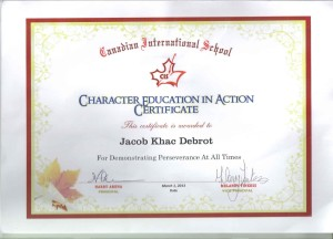 Jacob's perseverence certificate