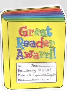 Jacob's reading award