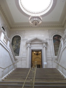 The entrance to Widener Library