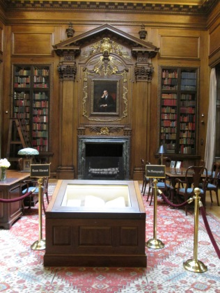 The study for the man who the library is named after and the Gutenberg Bible (in front).