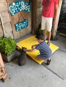 cat petting at Crab Shack